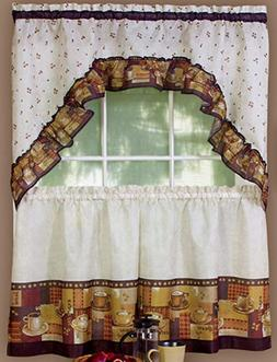3 pc Kitchen Curtains Set: 2 Tiers  & Swag  COFFEE by Achim