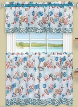 3 Pc Kitchen Curtains Set,Tiers & Swag  COASTAL SEALIFE, Ach