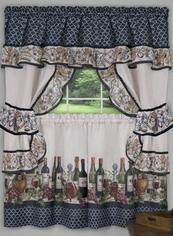 3 Pc Kitchen Curtains Tailored Cottage Set, WINE & GRAPES, C