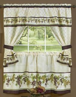 3 pc Kitchen Curtains Tailored Cottage Set, GRAPES TUSCANY b