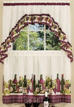 3 Pc Kitchen Curtains Tier & Swag  Set, WINE & GRAPES,CHARDO