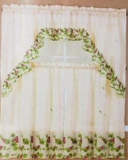 3 pc. Kitchen Printed Curtains Set: 2 Tiers & Swag, GRAPES