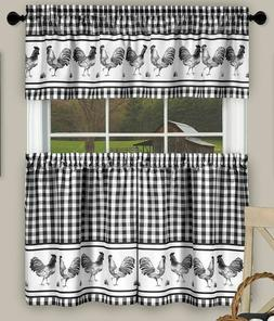 3 pc Kitchen Printed Curtains Set, 58x14 & 58x36, ROOSTERS B