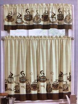 3 PC Mocha Expresso COFFEE Kitchen Curtains Tier & VALANCE S