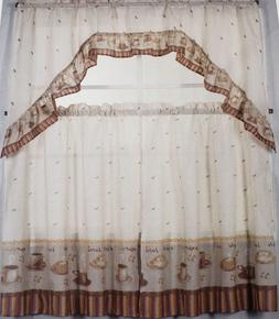 3 pc Printed Kitchen Curtains Set: 2 Tiers & Swag  COFFEE, Z