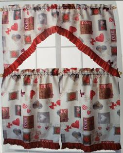 3 pc. PRINTED KITCHEN CURTAINS SET: 2 Tiers  & Swag  LOVE, L