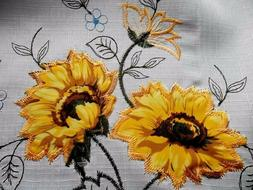 3-Pc Sunflower Kitchen Window Curtain Set  Drapes Cafe Tier