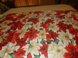 Violet Linen 3 Piece Christmas Poinsettia Kitchen Cafe Curta