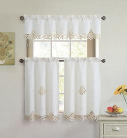 3 Piece Doily Embroidered Kitchen Window Curtain Set: Beige