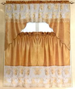 3 Piece Embroidery Kitchen Curtain Set