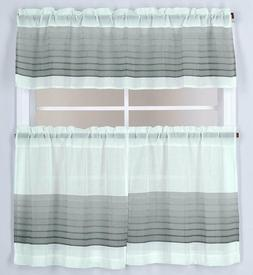 3 Piece Embroidery Kitchen Window Curtain Set, 2 Tiers & 1 V