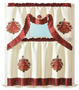 3-Piece Holiday Embroidered design Bell Cutout Kitchen Curta