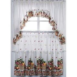 3 Piece Kitchen Curtain Set: 2 Tiers and 1 Valance Fruit Bas