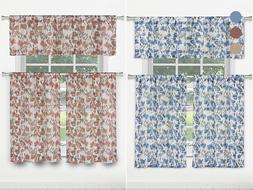 3-Piece Set: Floral Kitchen Tier Curtains & Valance - Assort