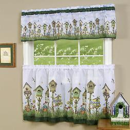 3PC Floral Window Kitchen Curtain Set Love Birds Birdhouse T