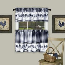 3-Piece Window Kitchen Curtain Set Check Gingham with Rooste