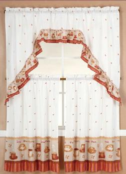 3 Pieces Coffee with Latte Kitchen/cafe Curtain Tier and Swa