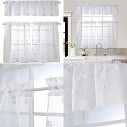 Mysky Home 3 Pieces Kitchen Curtains 36 Inch Length Patched