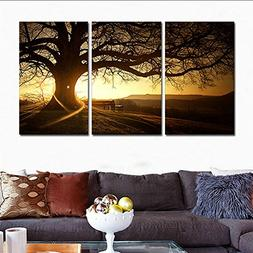H.COZY 3 Zhang printed canvas modern painting tree image sun