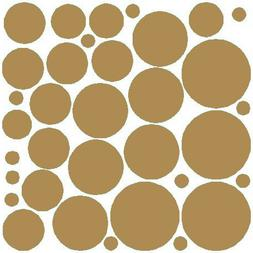 N.SunForest 34 Gold Polka Dots Vinyl Wall Decals Removable D