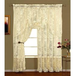 """LORRAINE HOME FASHIONS 63"""" Long Ivory Abbey Rose Lace Curtai"""