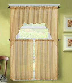 3PC K66 GOLD VOILE SHEER KITCHEN WINDOW CURTAIN 2 TIERS AND