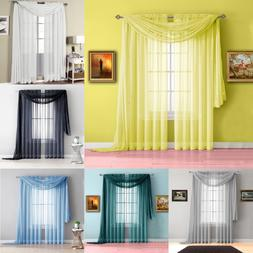 3PC SET HOME DECOR VOILE SHEER PANEL WINDOW DRESSING CURTAIN
