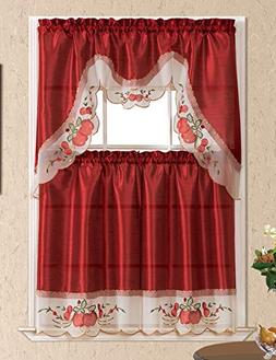Home Collection 3D Apple Embroidered Kitchen Curtain Tiers &