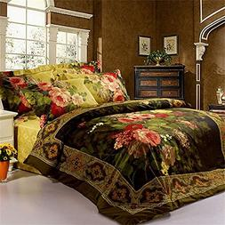 Alicemall 4 Pieces 3D Bedding Sets King Size Antique Luxury