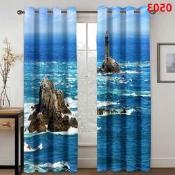 3D Curtains Window Curtain Blue Seawater Stone Living Room K