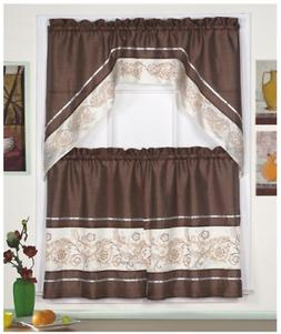 3pc Beige/Coffee with Embroidered Gold Floral Kitchen/cafe C