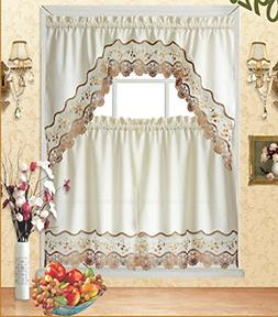 3pc Beige Embroidery Floral Kitchen/Cafe Curtain Tier and Va
