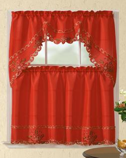 3pc Christmas Holiday Design Embroidered Kitchen Curtain Set