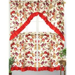 3pc Diana Kitchen Curtain Tier Swag Red Ruffle Border Mixed