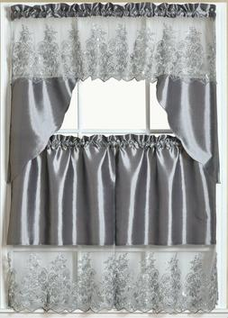 3pc. Embroidery Curtains Set:2 Tiers& SwagGREY/SILVER,PAULA,