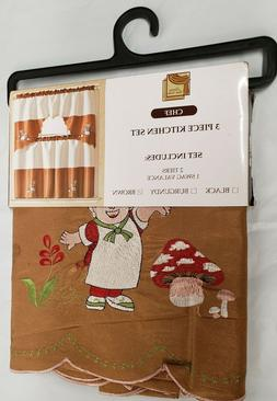 3pc. Embroidery Curtains Set:2 Tiers & Swag  FAT CHEF ON BRO
