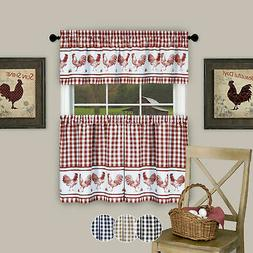 3PC Kitchen Curtain Set, Check Gingham Plaid Rooster, Tier P