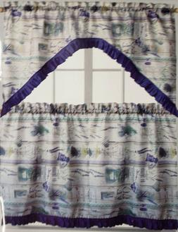3pc Kitchen Curtains Set: 2 Tiers  & Swag  LAVENDER by Lux