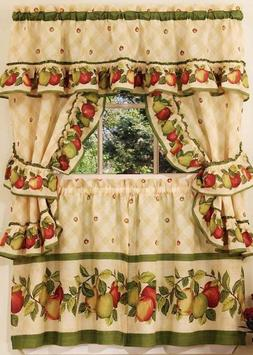3pc Kitchen Curtains Tailored Cottage Set, APPLES ORCHARD by