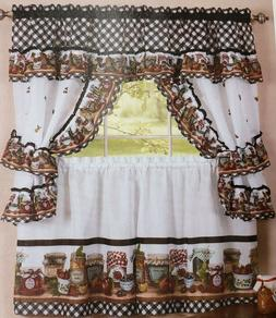 3pc Kitchen Curtains Tailored Cottage Set, MASON JARS by Ach