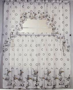 3pc printed curtains set 2 tiers 30