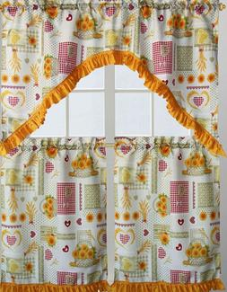 3pc  Printed Kitchen Curtains Set: 2 Tiers & Swag  SUNFLOWER