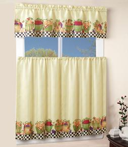 3PC ROD POCKET KITCHEN WINDOW CURTAIN 2 TIERS + 1 TAILORED V