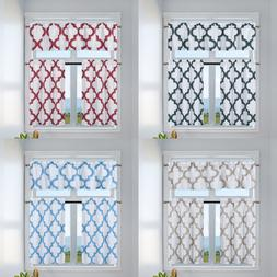 3PC SET GEOMETRIC PATTERN LINED WINDOW KITCHEN CURTAIN ROD P