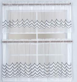 3PC Sheer Embroidery Kitchen Window Curtain Set, 2 Tiers and