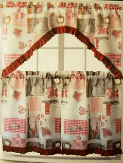 3pc Sheer Kitchen Curtains Set: 2 Tiers & Swag COOKING & LOV