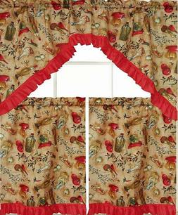 3pc sheer kitchen curtains set 2 tiers