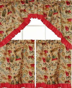 3pc Sheer Kitchen Curtains Set: 2 Tiers & Swag  PEPPERS & OI