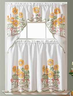 3pcs Kitchen Curtain / Cafe Curtain Set, Air-brushed By Hand