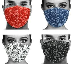 4 Assorted Colors Set - Unisex Paisley Face Mask Breathable